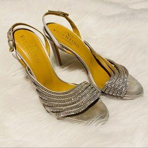 Valentino Crystal Embellished Slingback Pumps